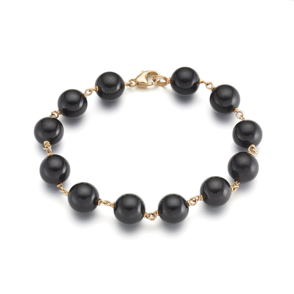 10mm Black Jade & Gold Bracelet