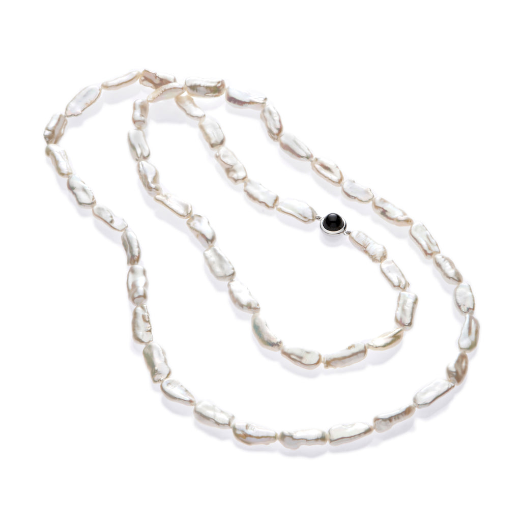 Pearl With Onyx Cabochon Rope Necklace