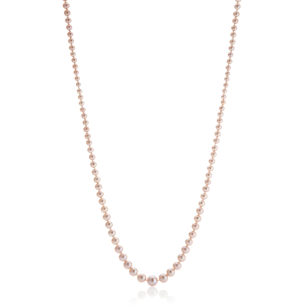 Pink Graduated Pearl Rope Necklace