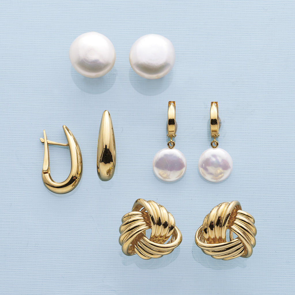 Gump's Signature Gold Hoop & White Coin Pearl Earrings