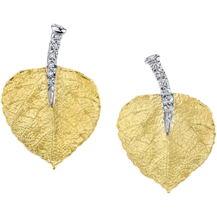 Aspen Leaf & Diamond Earrings