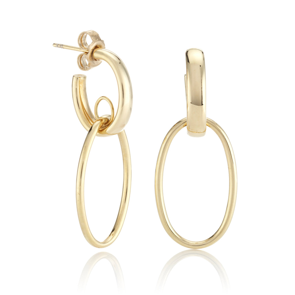 Gold Double-Drop Hoop Earrings