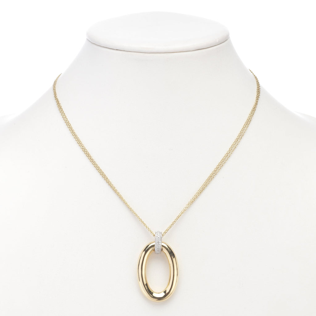 Pavé Diamond Oval Pendant with Triple Chain