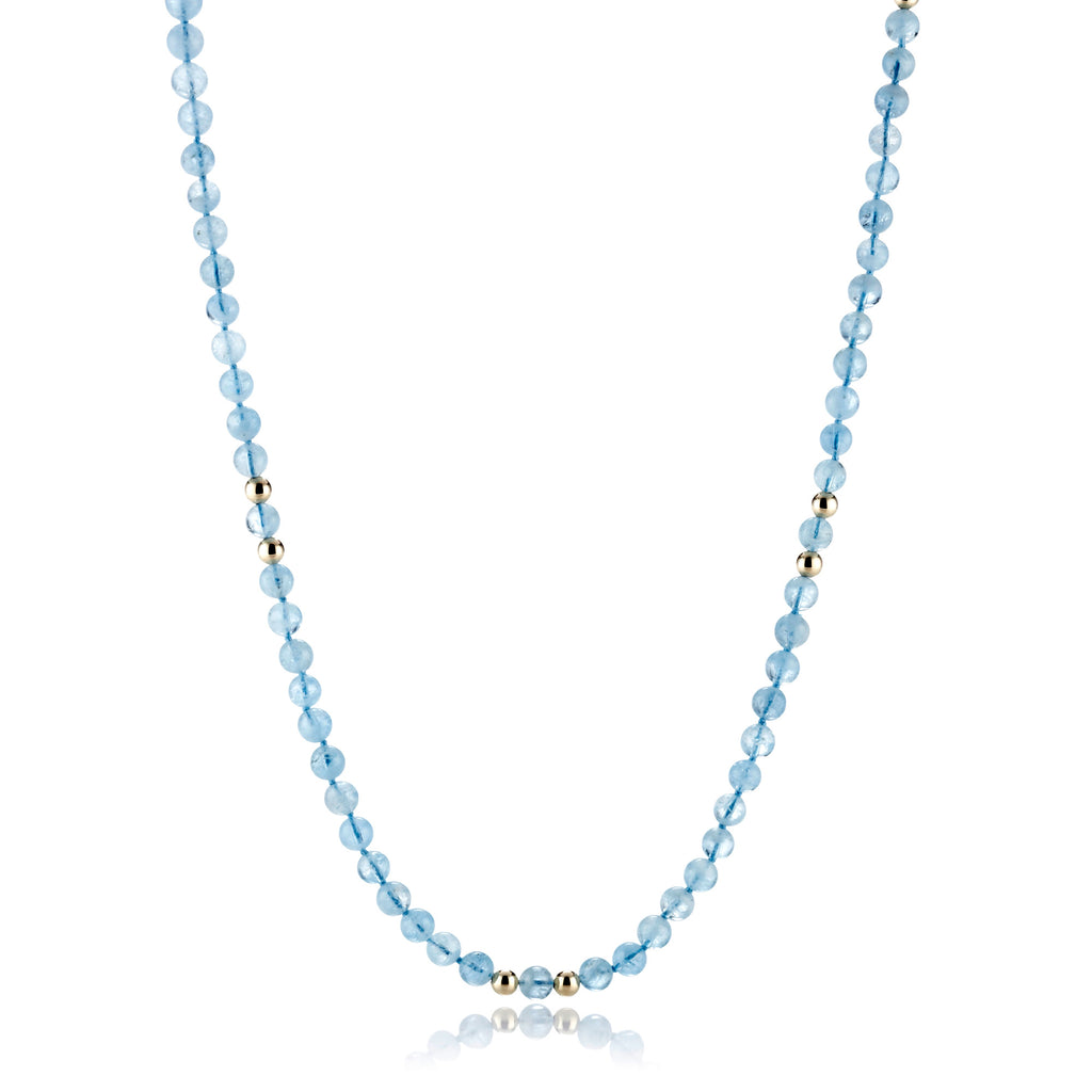 Smooth Aquamarine & Gold Rope Necklace