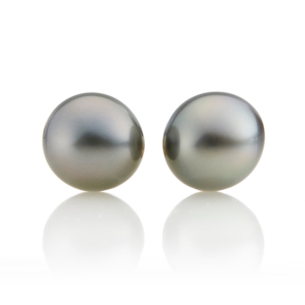 10.5mm Dark Gray Tahitian Pearl Earrings