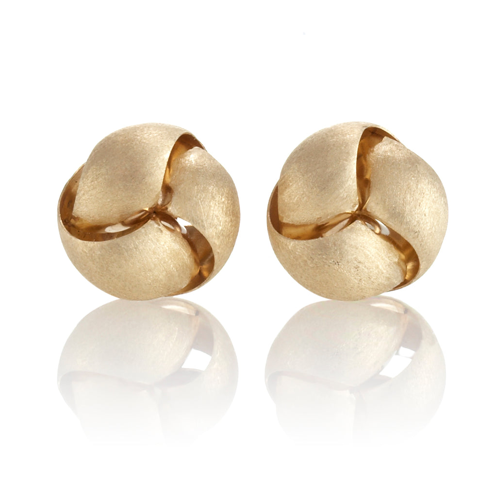 Brushed Gold Triple Knot Earrings
