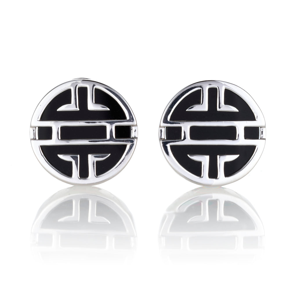 Onyx & Silver Shou Earrings