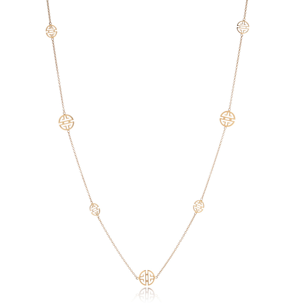 Long Petite Gold Shou Station Necklace