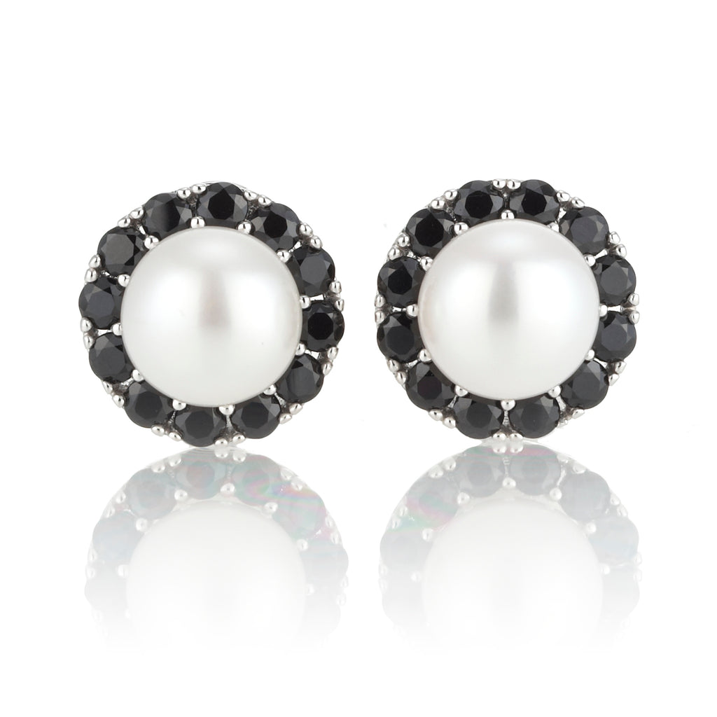 White Pearl & Faceted Onyx Earrings