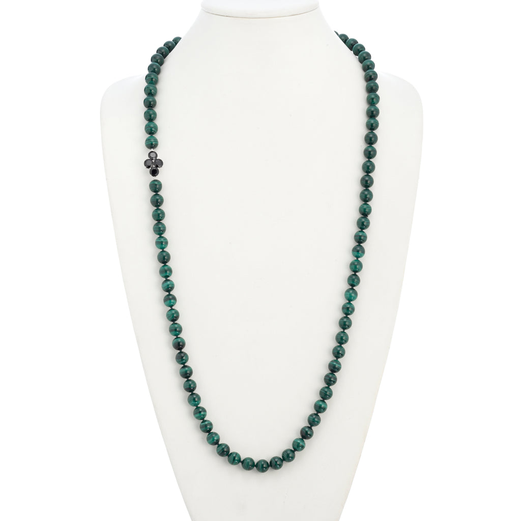 Malachite with Faceted Onyx Rope Necklace