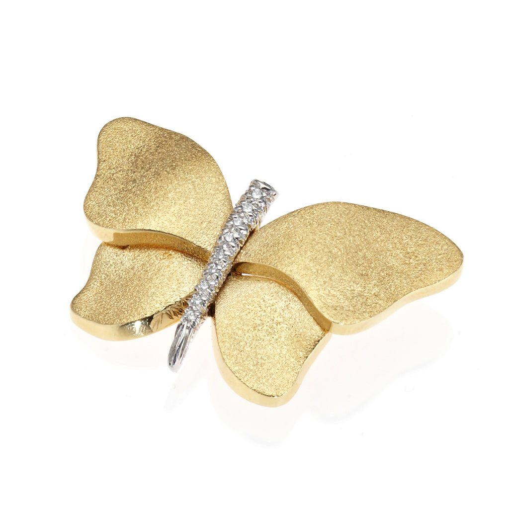 Gold & Diamond Butterfly Brooch