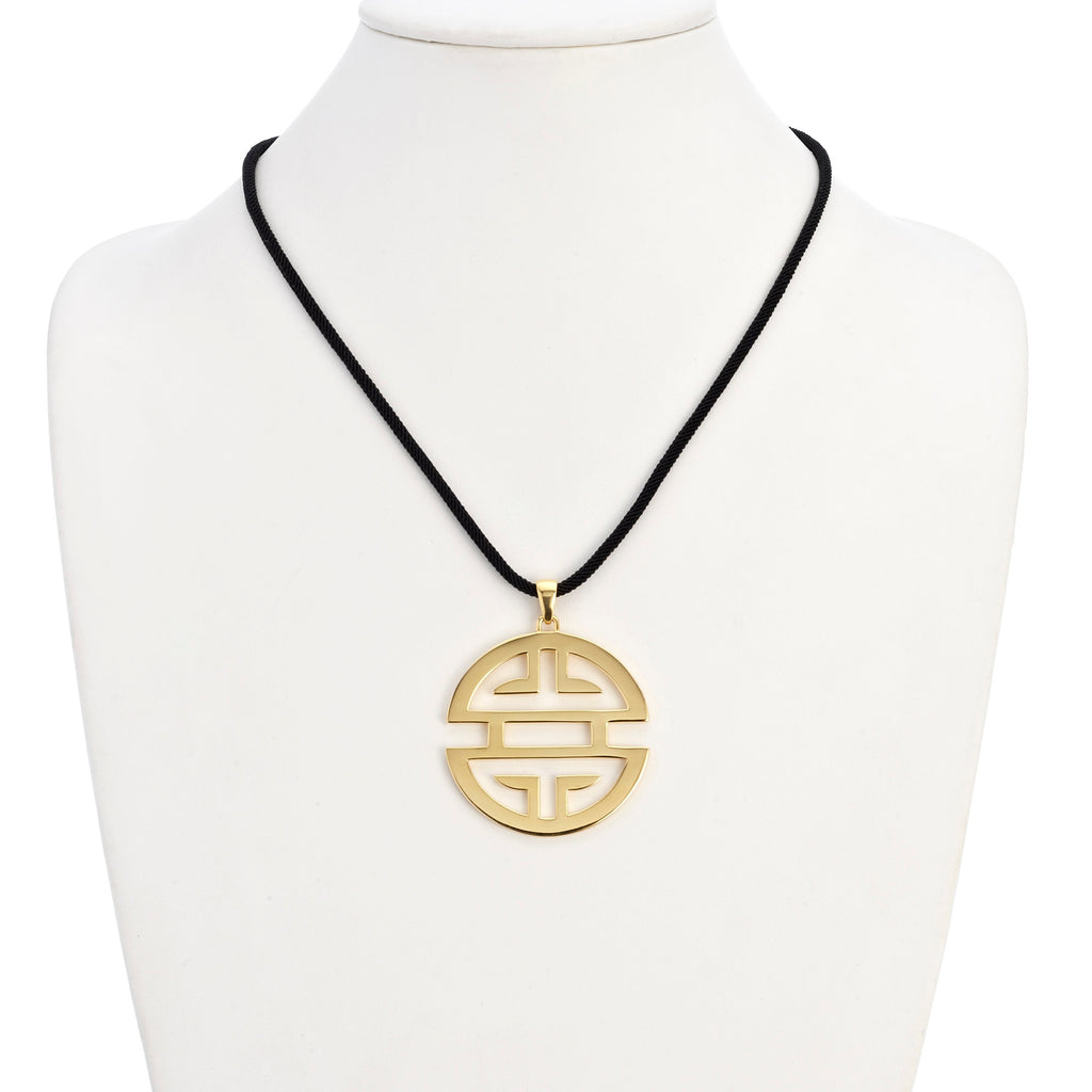 Large Vermeil Shou Pendant Necklace