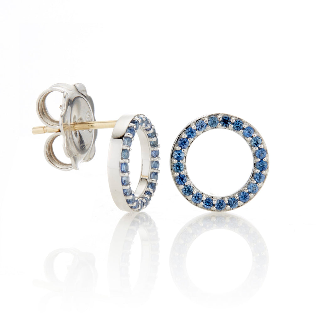 Sapphire Open Circle Earrings