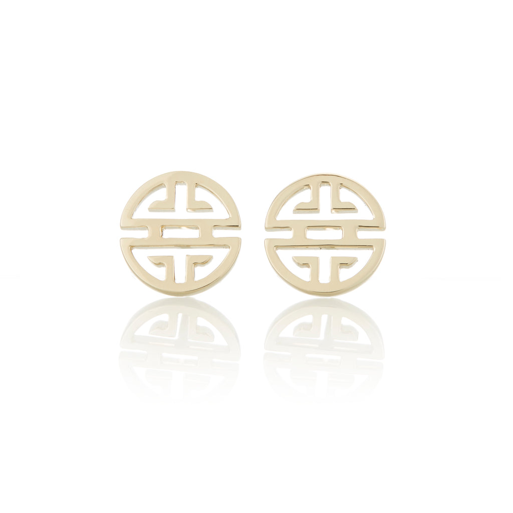 Gold Shou Stud Earrings