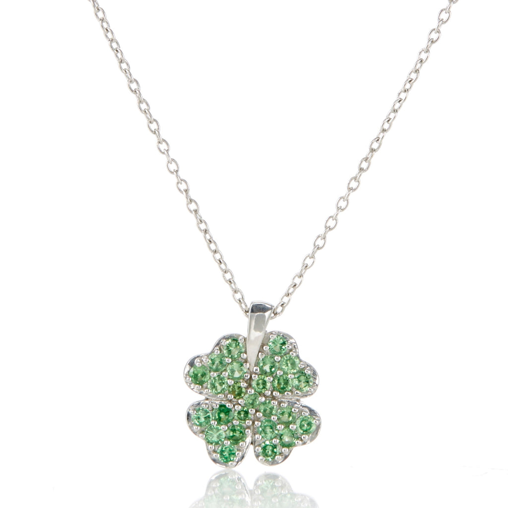 Green Garnet Four-Leaf Clover Pendant Necklace