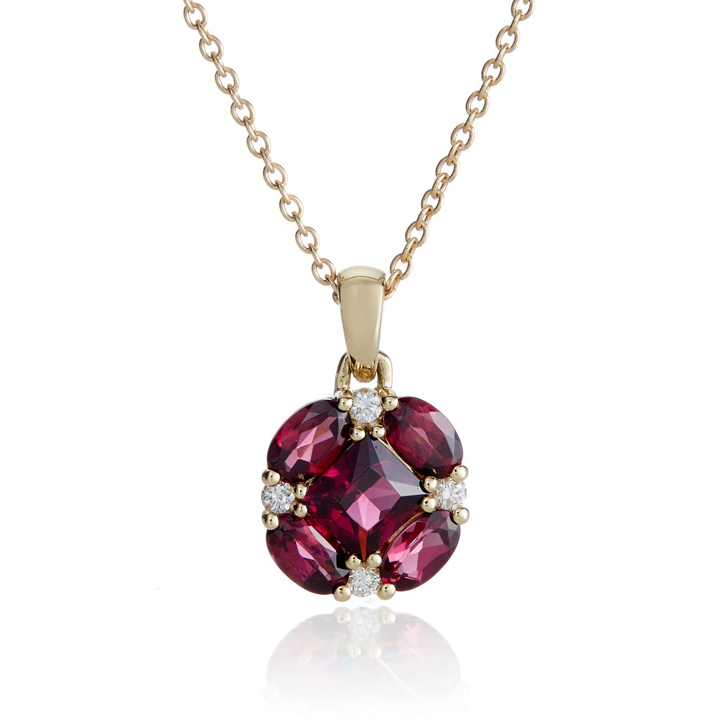 Rhodolite & Diamond Quadrille Pendant Necklace