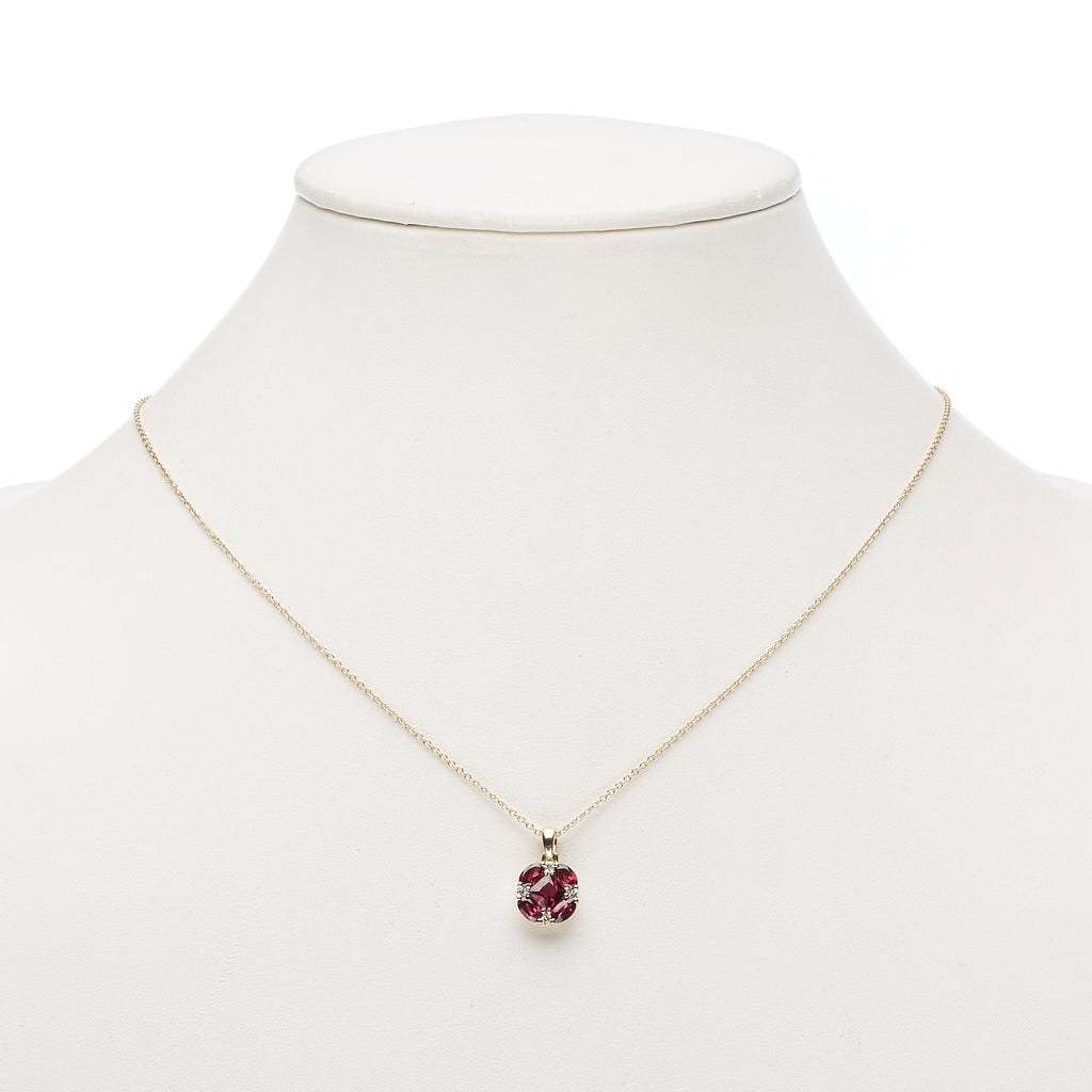 Rhodolite Garnet & Diamond Quadrille Pendant Necklace