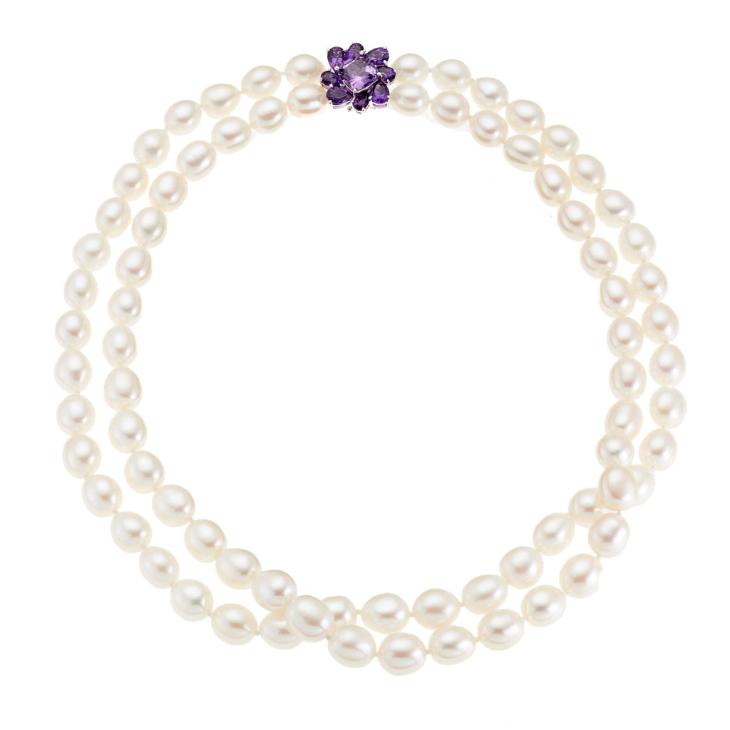 Baroque Pearl & Amethyst Flower Necklace