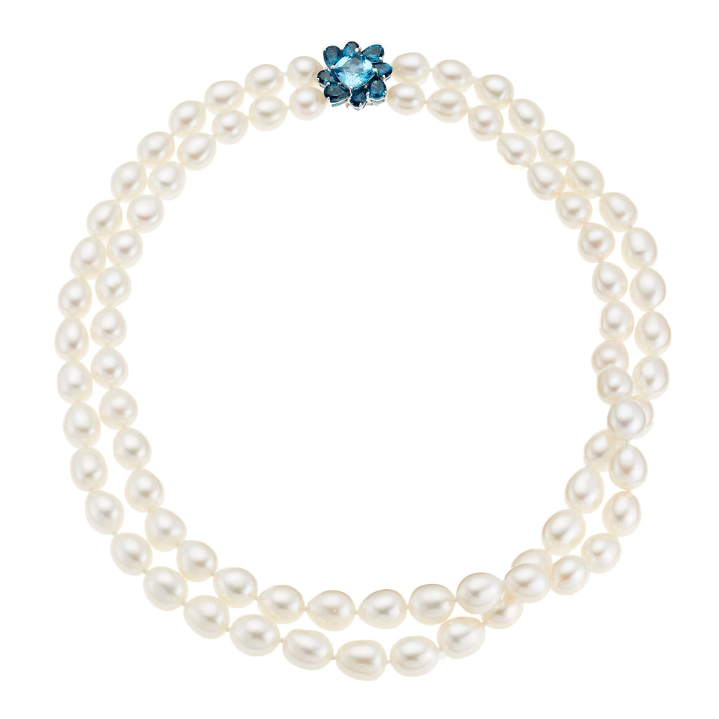 Baroque Pearl & Blue Topaz Flower Necklace