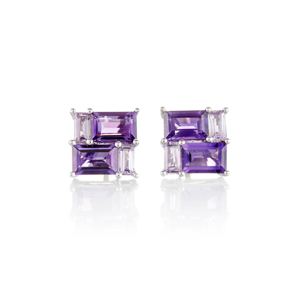 Amethyst Mosaic Stud Earrings