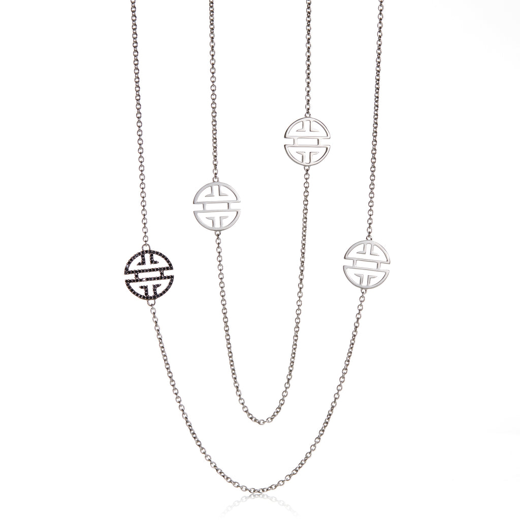 Silver Shou with Black Diamond Station Necklace
