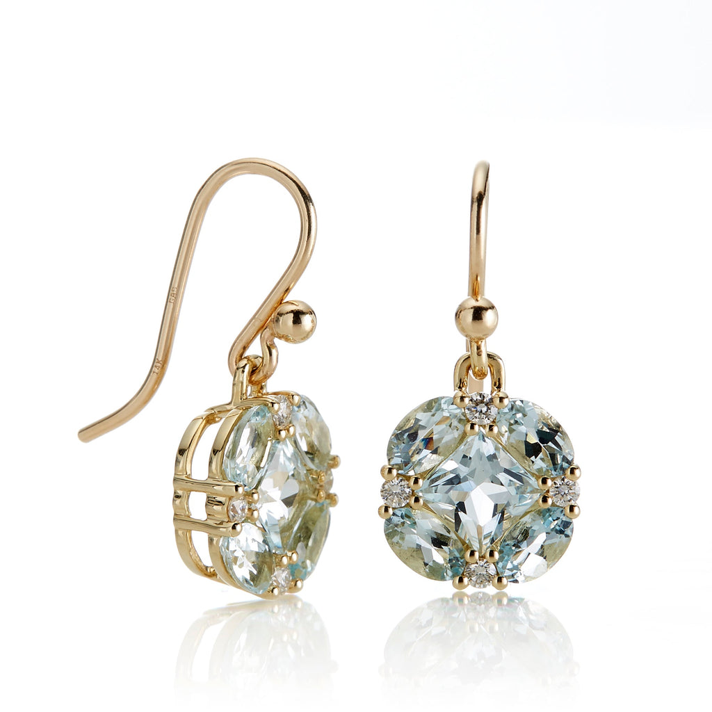 Aquamarine & Diamond Quadrille Drop Earrings