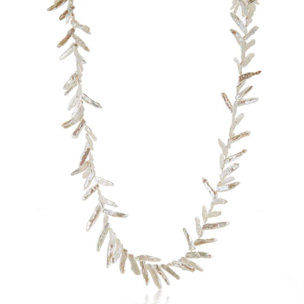 Gump's Signature White Fern Pearl Rope Necklace