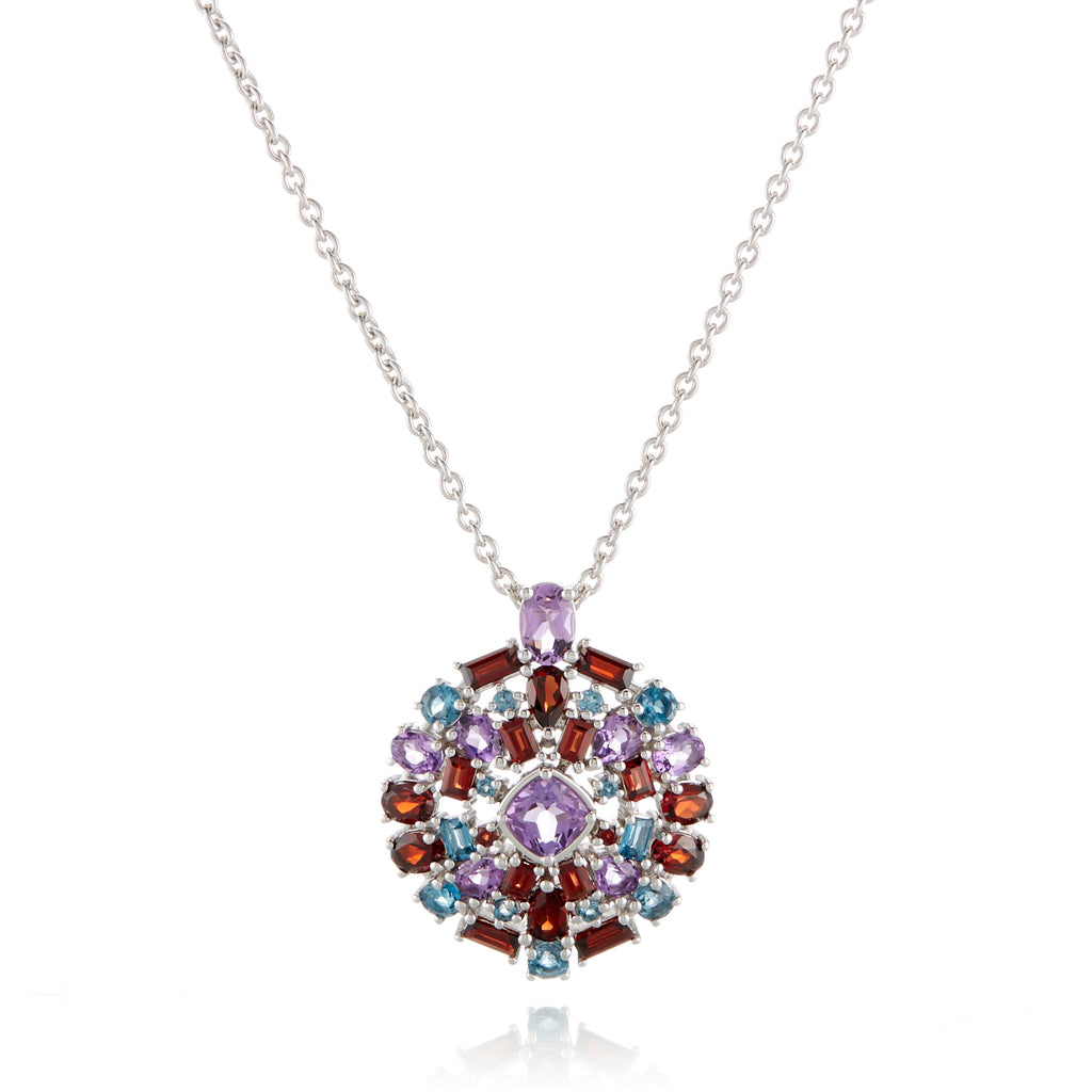Amethyst Garnet And Topaz Cluster Necklace