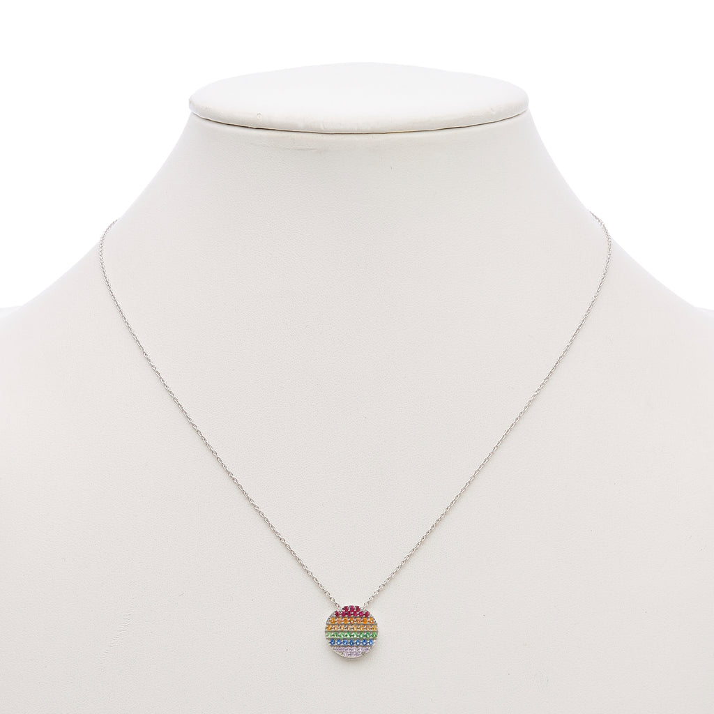 Multi-Gemstone Rainbow Pendant Necklace