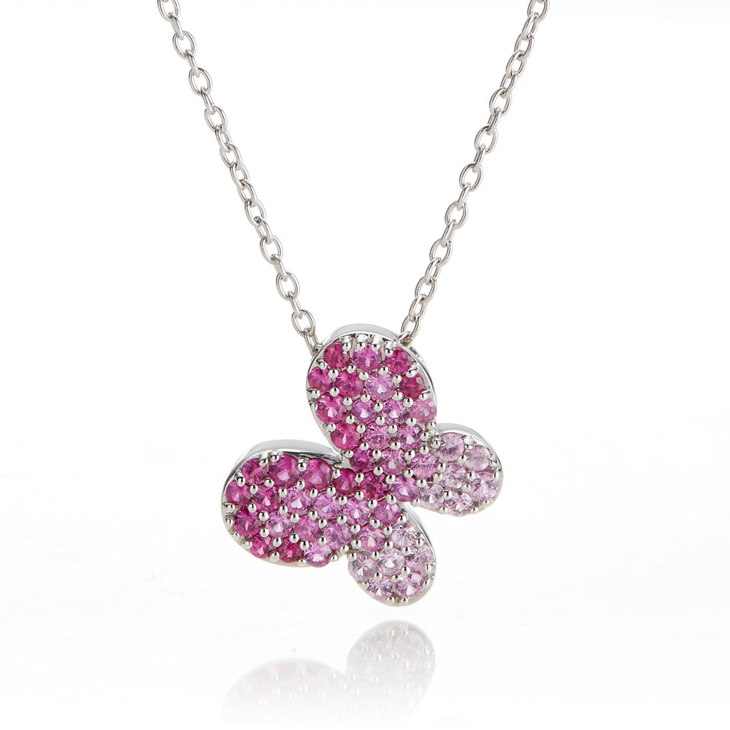 Pink Sapphire Butterfly Pendant Necklace