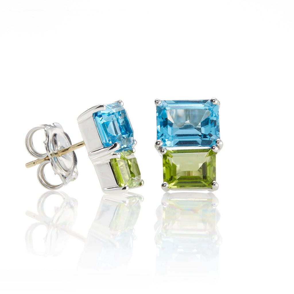 Swiss Blue Topaz & Peridot Stacked Earrings