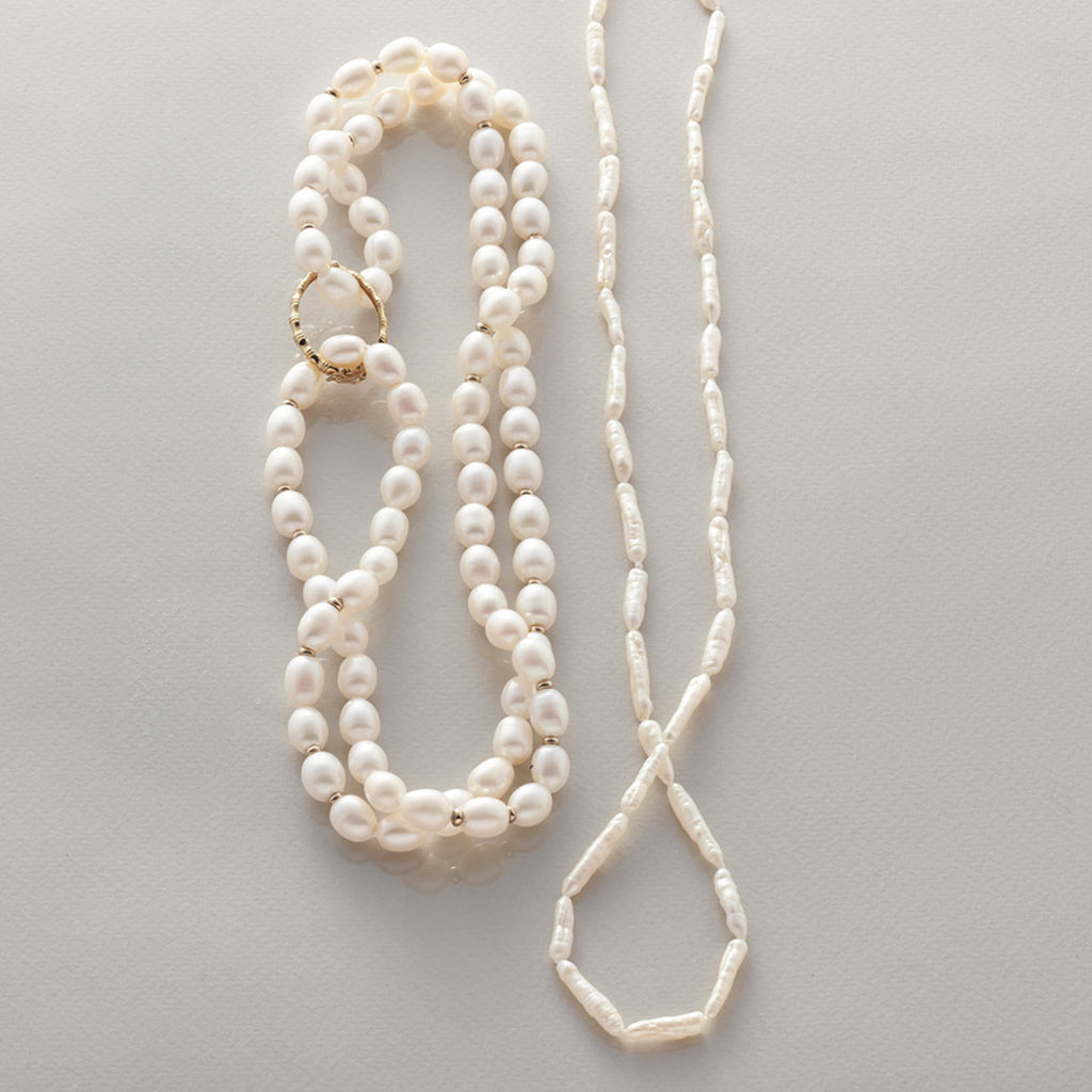 White Bamboo Pearl Rope Necklace
