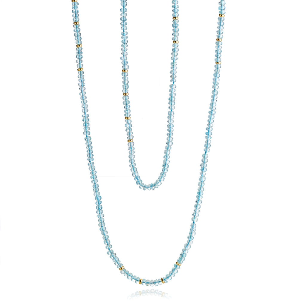 Faceted Aquamarine & Gold Rope Necklace