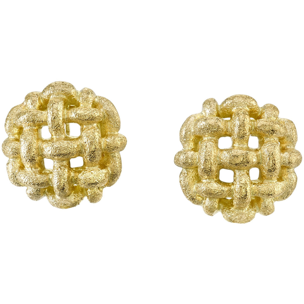 Gold Woven Button Earrings