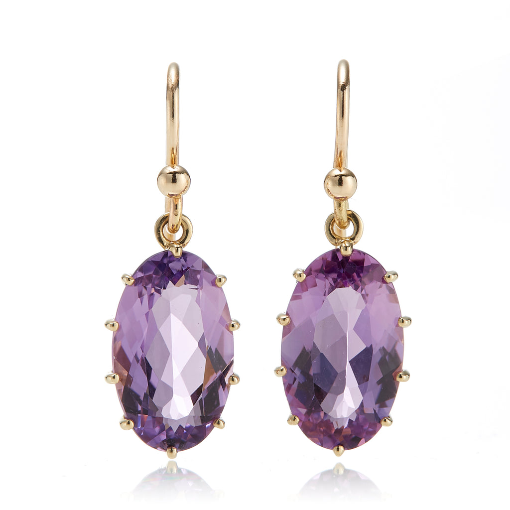 Amethyst Prong-Set Oval Drop Earrings