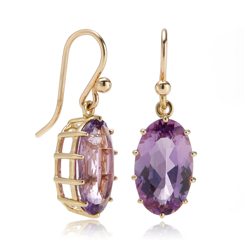 Gump's Signature Amethyst Prong-Set Oval Drop Earrings