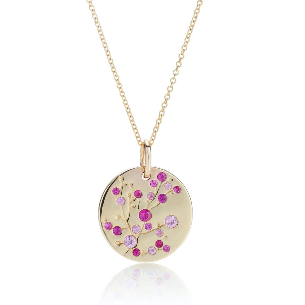 Pink Sapphire Cherry Blossom Pendant Necklace