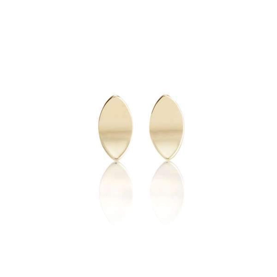 Yellow Gold Marquise Concave Stud Earrings