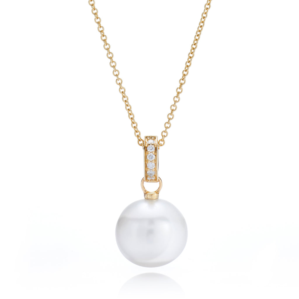 Pearl & Pavé Diamond Pendant Necklace