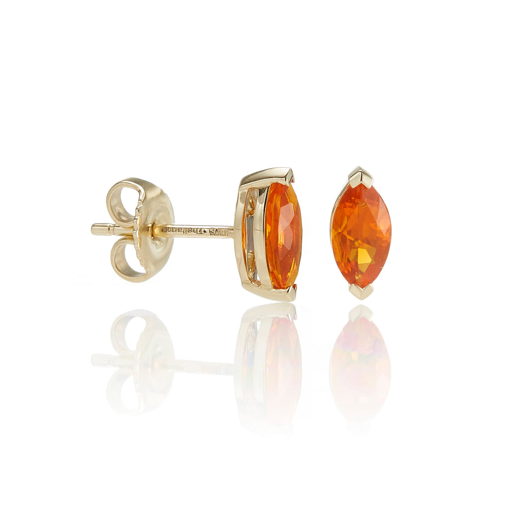 Marquise-Cut Fire Opal Earring