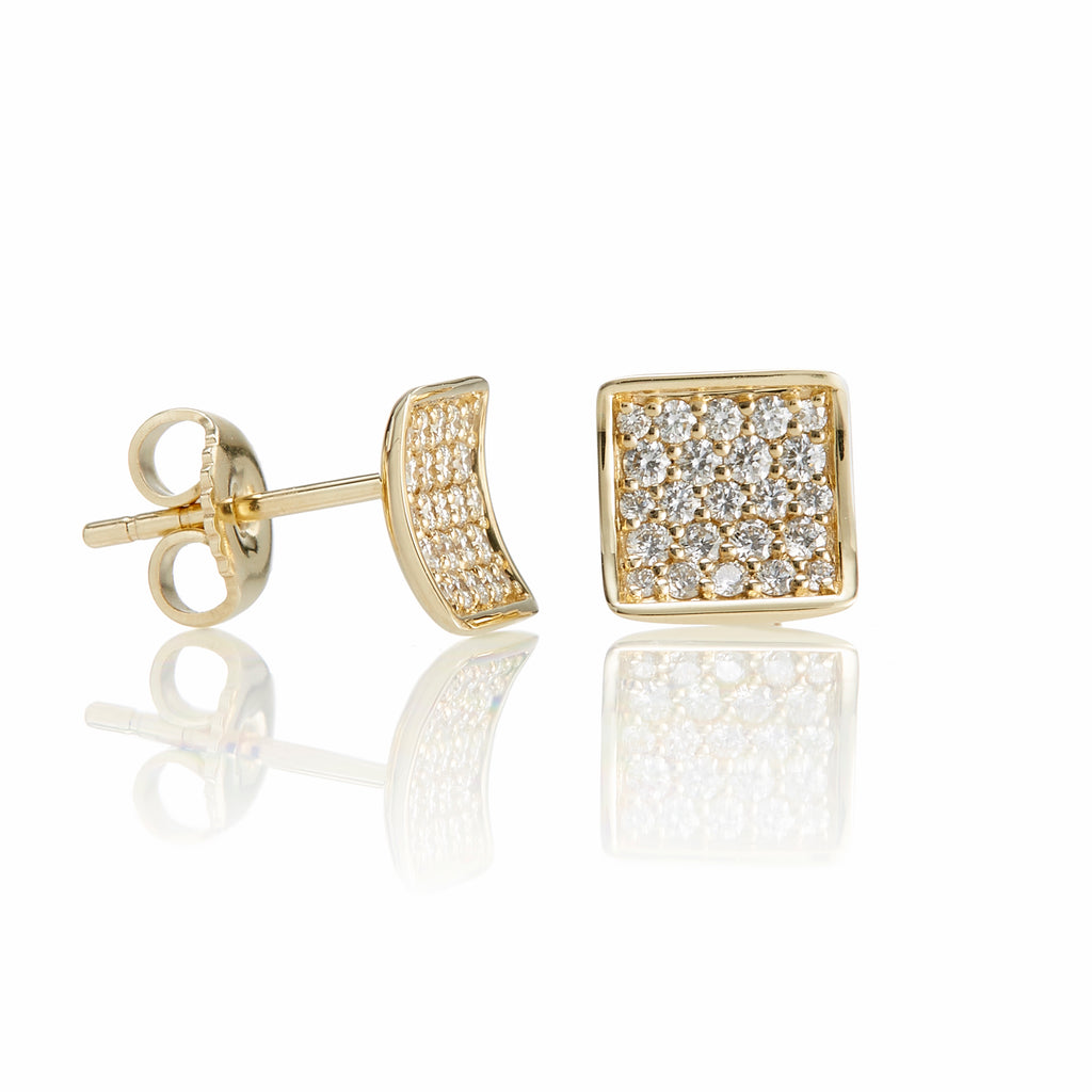 Concave Square Diamond Earrings