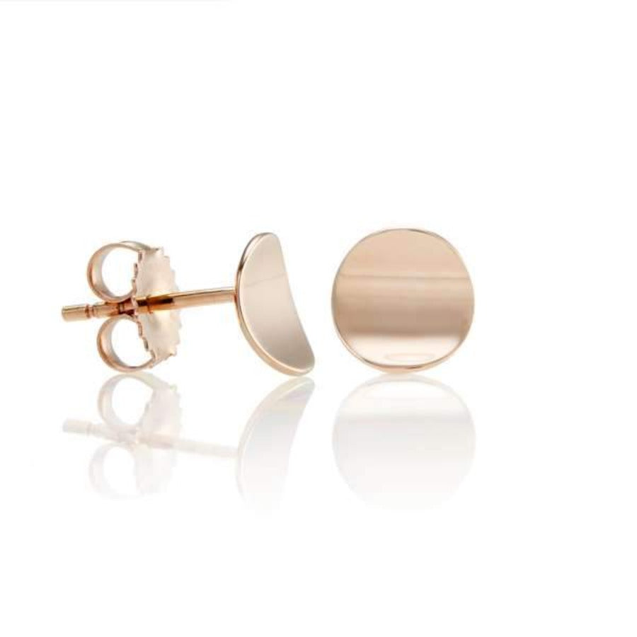 Rose Gold Disc Concave Stud Earrings