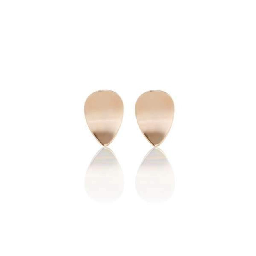 Rose Gold Petal Concave Stud Earrings