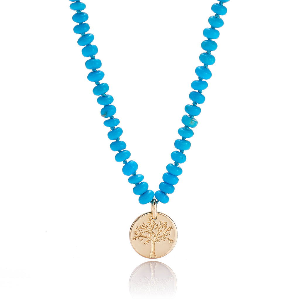 Turquoise & Gold Tree of Life Charm Necklace