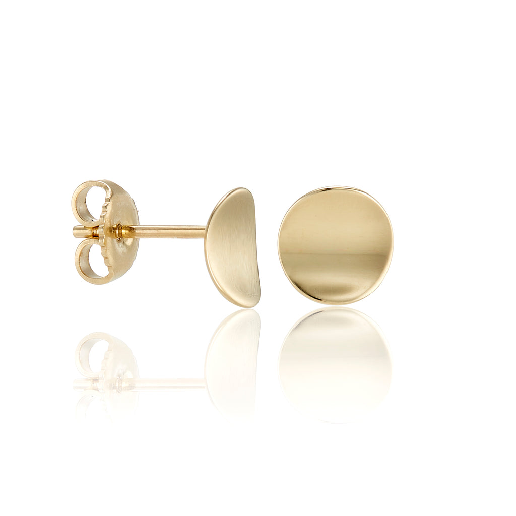 Gold Concave Disc Earrings