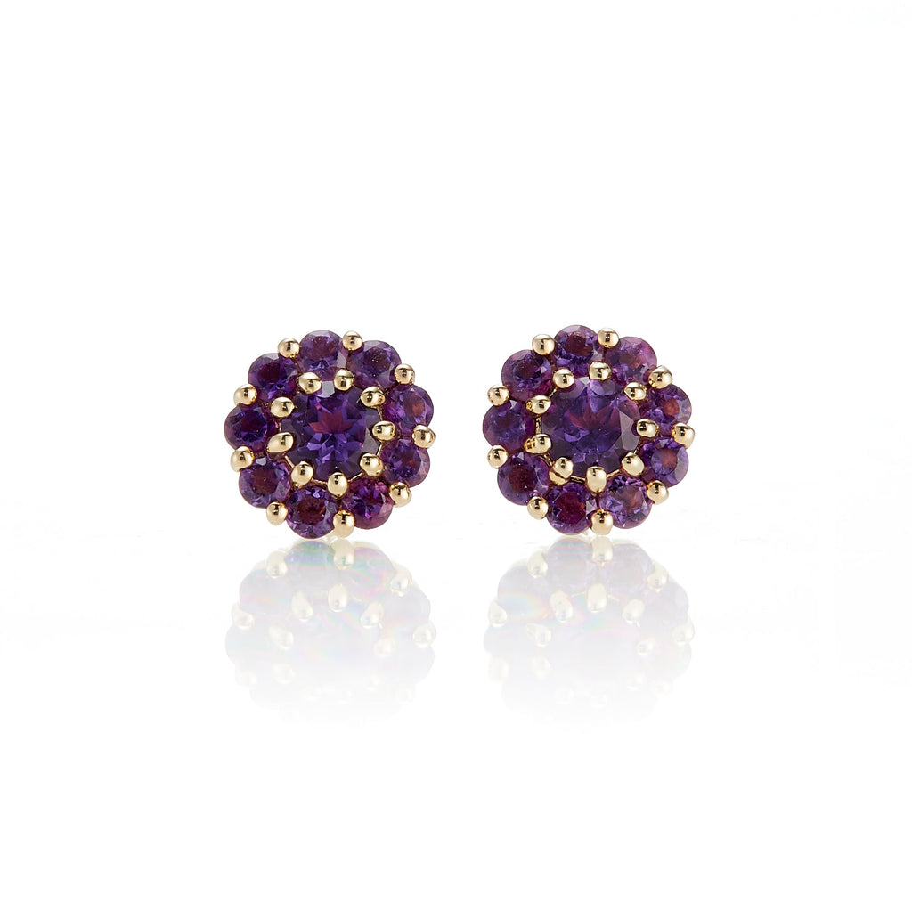 Pavé Amethyst Floret Earrings