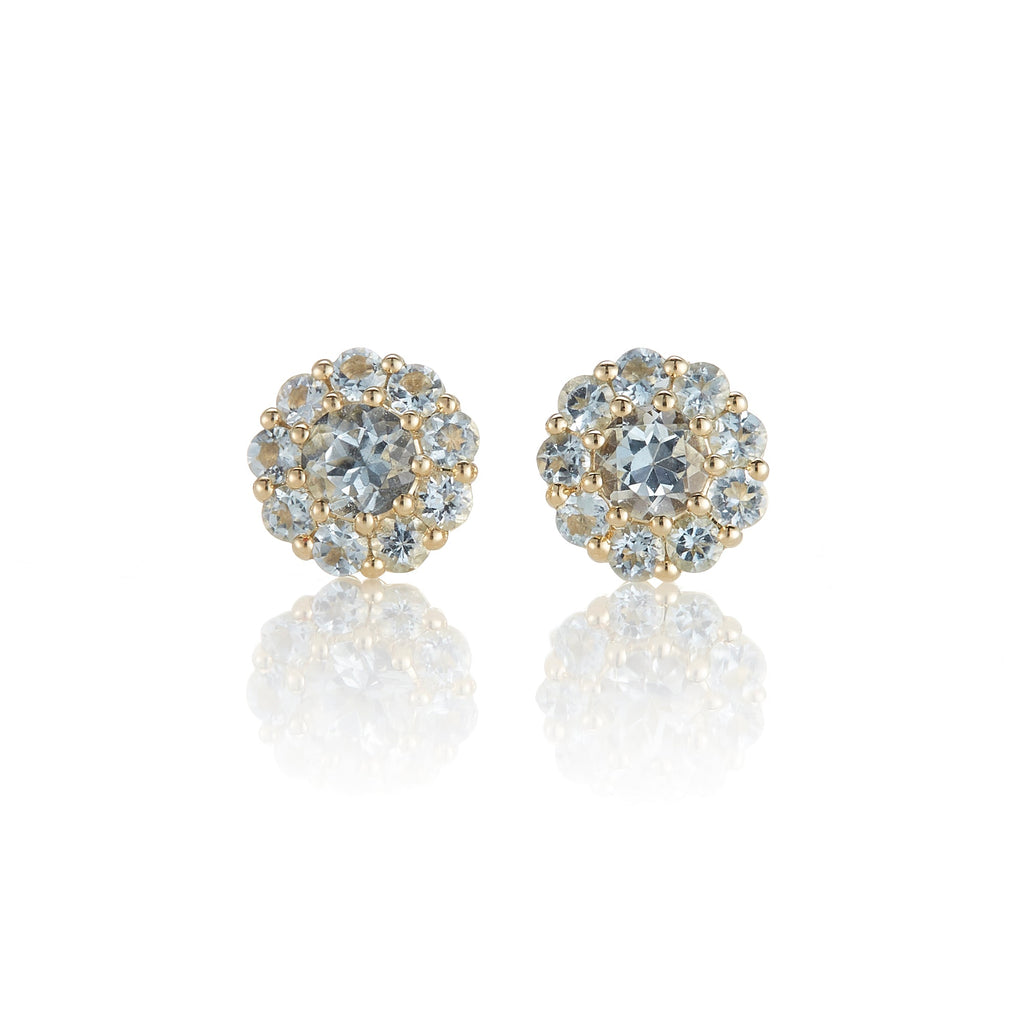 Pave` Aquamarine Floret Earrings