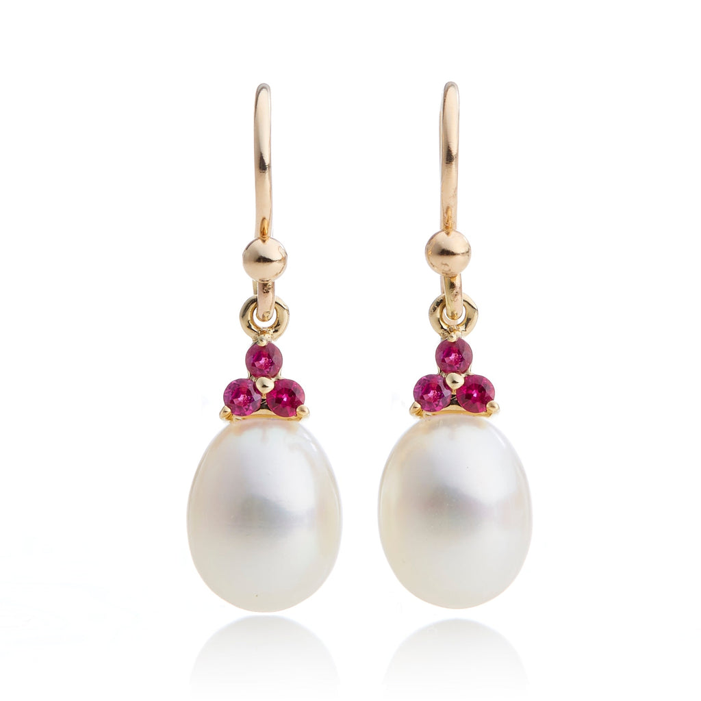 Ruby Trio & Pearl Drop Earrings