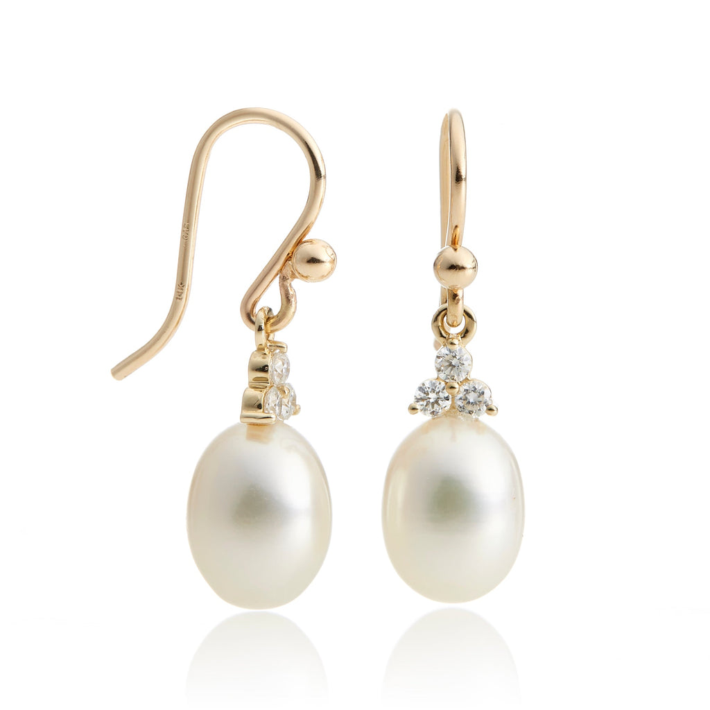 Diamond Trio & Pearl Drop Earrings