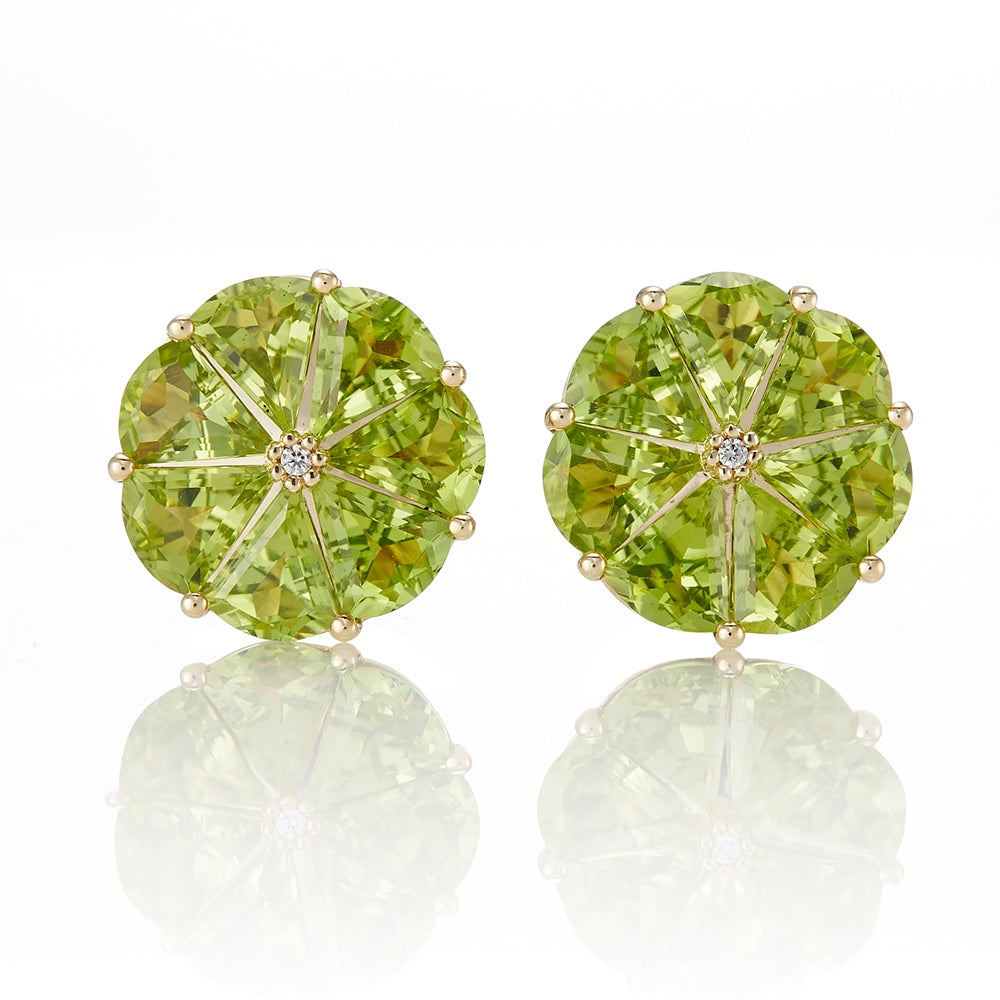 Peridot & Diamond Pinwheel Earrings